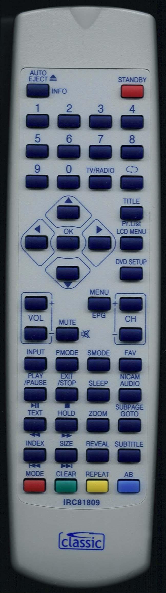 Baird OR19DVD Remote Control