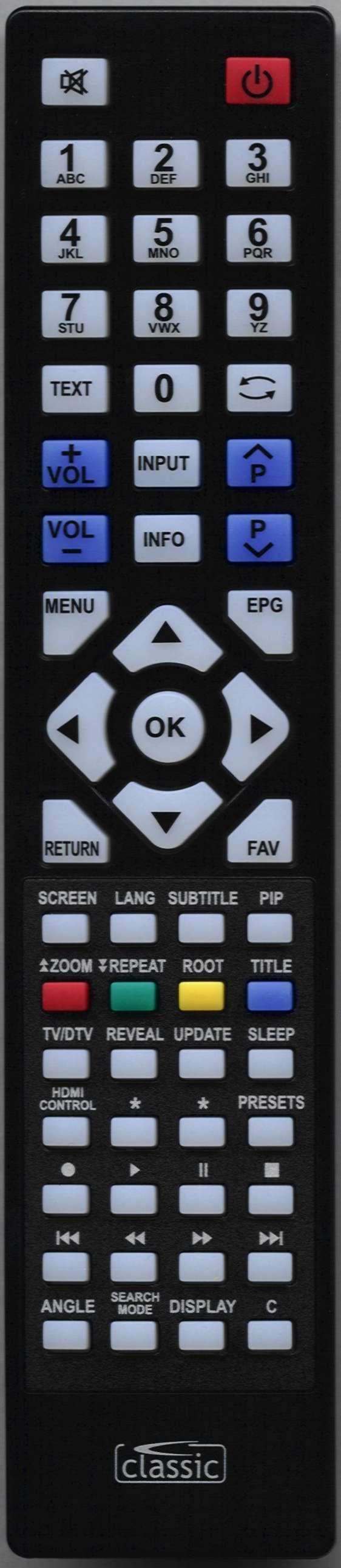LUXOR LUX40914TVB Remote Control