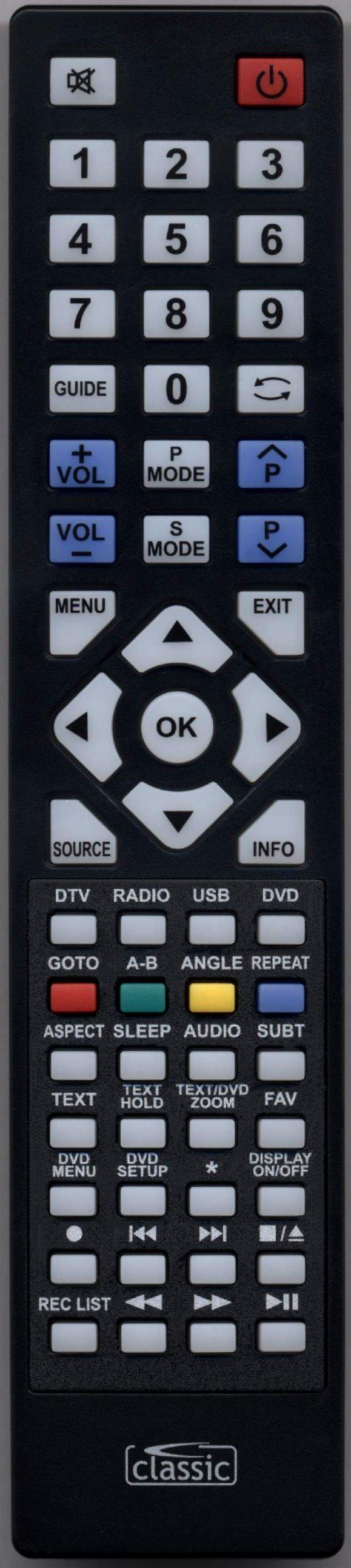 Blaupunkt 23-157I-GW-3W-HBKDUP-UK Remote Control