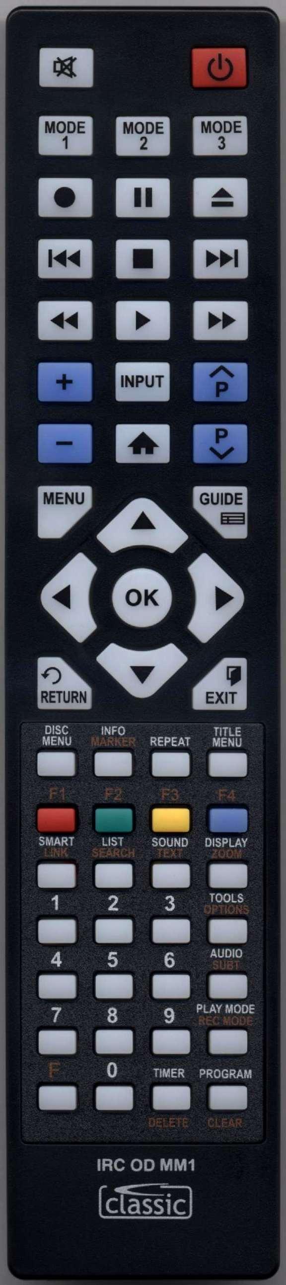 SAMSUNG BDD5500 Remote Control Alternative